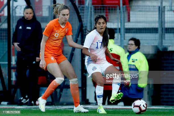 Vivianne Miedema of Holland Women Javiera Toro of Chili Women during the International Friendly Women match between Holland v Chile at the AFAS...