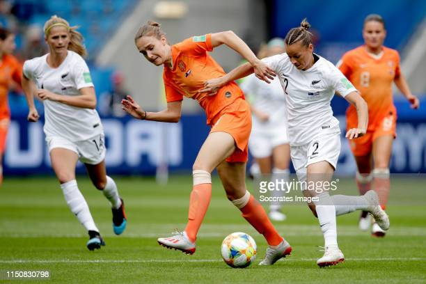 Vivianne Miedema of Holland Women Ria Percival of New Zealand Women during the World Cup Women match between New Zealand v Holland at the Stade...