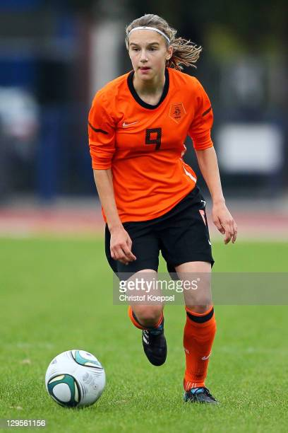 Vivianne Miedema of Netherlands runs with the ball during the U17 International friendly match between Germany and Netherlands at Athletic stadium...