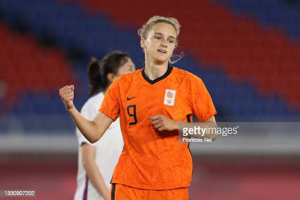 Vivianne Miedema of Team Netherlands celebrates after scoring their side's fifth goal during the Women's Group F match between Netherlands and China...