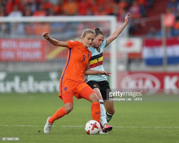 Vivianne Miedema of the Netherlands battles with Heleen Jaques of Belgium during the UEFA Women's Euro 2017 Group A match between Belgium and...