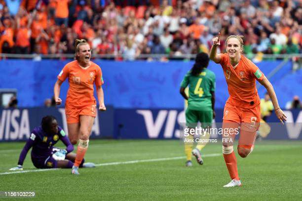 Vivianne Miedema of the Netherlands celebrates after scoring her team's third goal during the 2019 FIFA Women's World Cup France group E match...