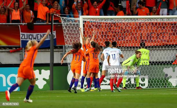 Vivianne Miedema of The Netherlands celebrates after scoring her team's first goal of the game during the UEFA Women's Euro 2017 Semi Final match...