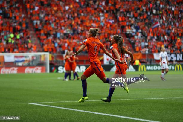 Vivianne Miedema of the Netherlands celebrates after scoring her teams first goal of the game during the Final of the UEFA Women's Euro 2017 between...