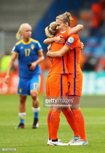 Vivianne Miedema of the Netherlands celebrates victory during the UEFA Women's Euro 2017 Quarter Final match between Netherlands and Sweden at...