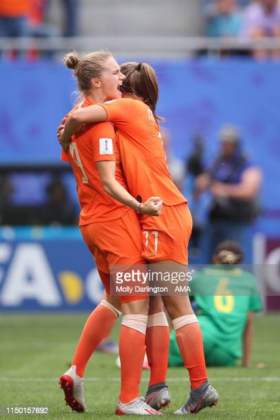 Vivianne Miedema of the Netherlands celebrates with Lieke Martens of the Netherlands after scoring a goal to make it 10 during the 2019 FIFA Women's...