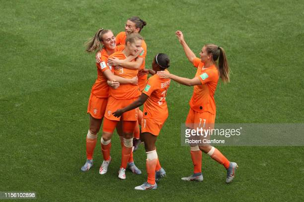 Vivianne Miedema of the Netherlands celebrates with teammates after scoring her team's third goal during the 2019 FIFA Women's World Cup France group...