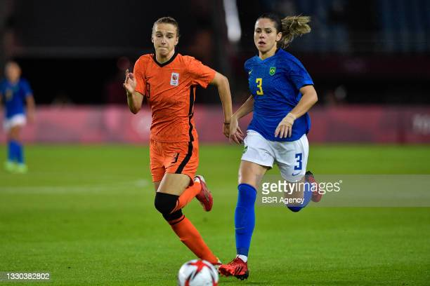 Vivianne Miedema of the Netherlands, Erika of Brazil during the Tokyo 2020 Olympic Football Tournament match between Netherlands and Brazil at Miyagi...