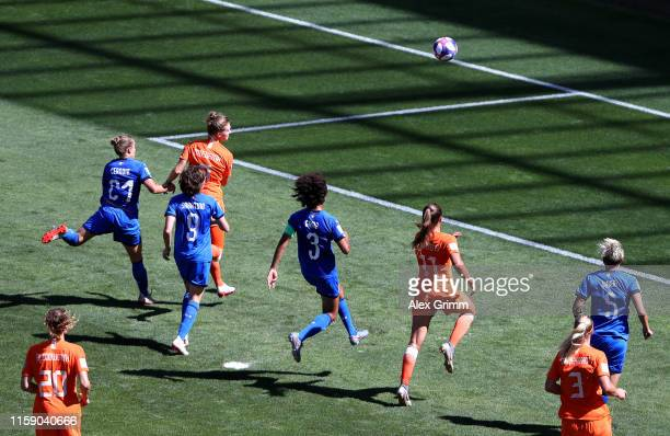 Vivianne Miedema of the Netherlands scores her team's first goal during the 2019 FIFA Women's World Cup France Quarter Final match between Italy and...