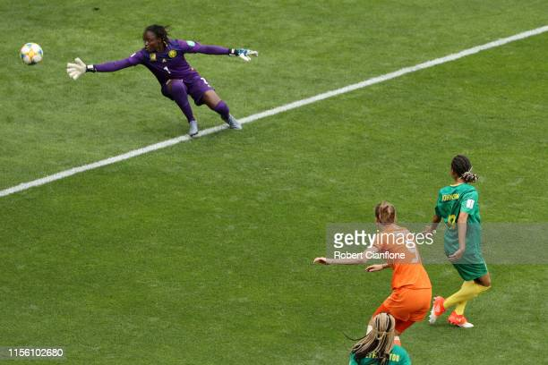 Vivianne Miedema of the Netherlands scores her team's third goal during the 2019 FIFA Women's World Cup France group E match between Netherlands and...