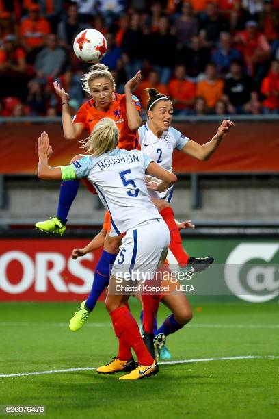 Vivianne Miedema of the Netherlands scores the first goal against Stepph Houghton and Lucia Bronze of England during the UEFA Women's Euro 2017...