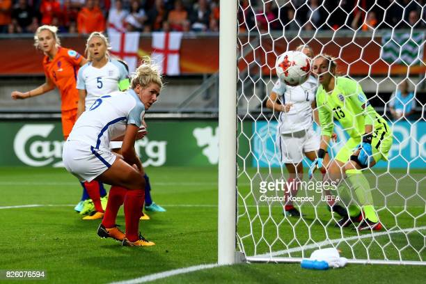 Vivianne Miedema of The Netherlands scores the first goal during the UEFA Women's Euro 2017 Second Semi Final match between Netherlands and England...