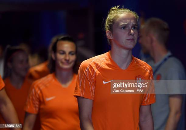 Vivianne Miedema of the Netherlands walks out for the warm up prior to the 2019 FIFA Women's World Cup France Semi Final match between Netherlands...