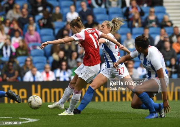 Vivianne Miedema scores goal for Arsenal with Danielle van de Donk during the match between Brighton & Hove Albion Women and Arsenal Women at Amex...
