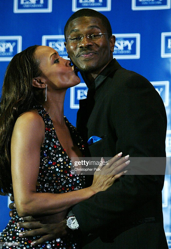 Vivica A. Fox and guest during 2003 ESPY Awards - Press Room at Kodak Theatre in Hollywood, California, United States.
