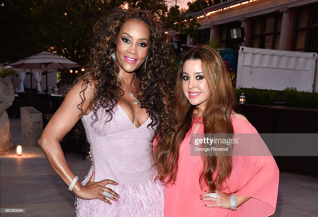 Vivica A. Fox and Jewelry Designer, Lucy Kilislian attend the Vivica A. Fox birthday celebration held at Muzik on July 29, 2015 in Toronto, Canada.