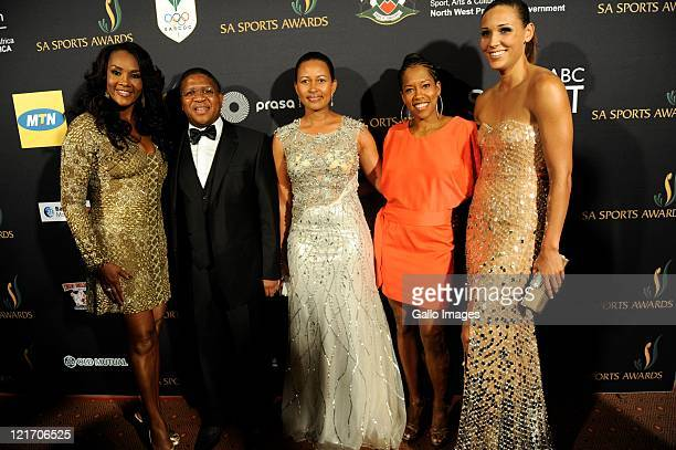 Vivica A Fox Fikile Mbalula Nozuko Mbalula Regina King during the SA Sports Awards from Sun City Superbowl on August 21 2011 in Rustenburg South...