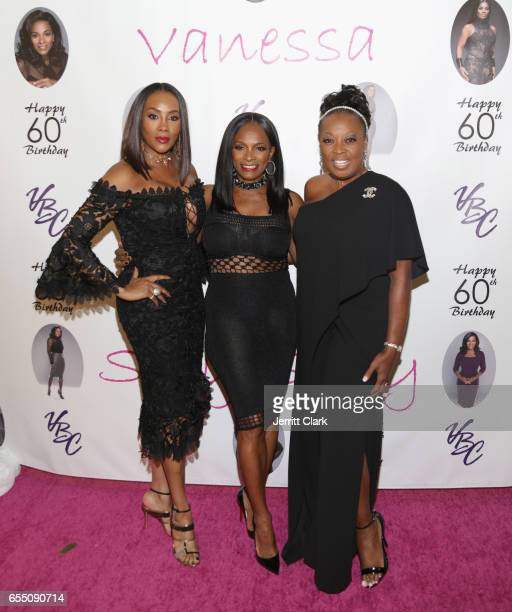 Vivica A Fox Vanessa Bell Calloway and Star Jones attend Vanessa Bell Calloway's 60th Birthday Bash at Cicada on March 18 2017 in Los Angeles...