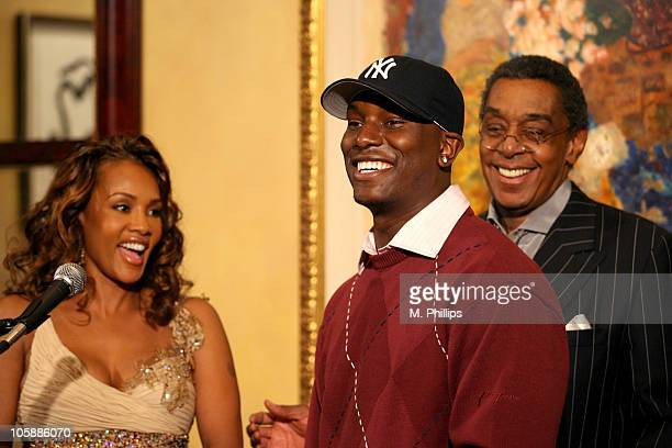 Vivica AFox Tyrese and Don Cornelius during 20th Annual Soul Train Music Awards Nominations Announced at Spago in Beverly Hills CA United States