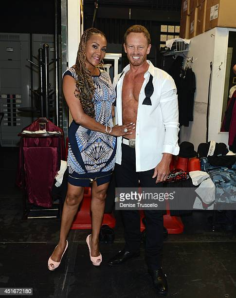 Vivica Fox and Ian Ziering backstage at Chippendales at the Rio AllSuite Hotel And Casino on July 3 2014 in Las Vegas Nevada