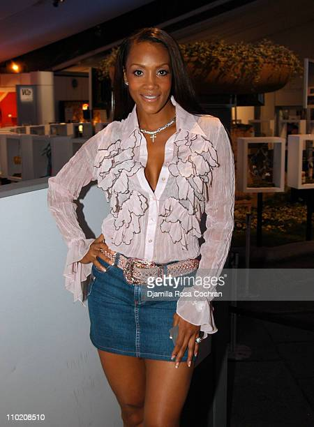 Vivica Fox during Olympus Fashion Week Spring 2005 Fusha Front Row and Backstage at The Bryant Bryant Park in New York City New York United States