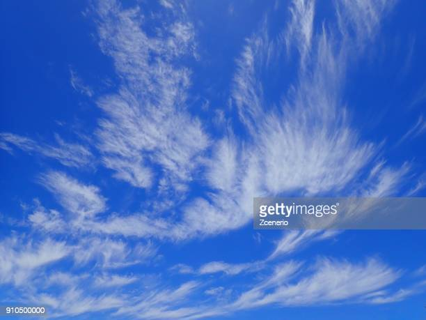 Vivid beautiful powerful blue sky with white cloud