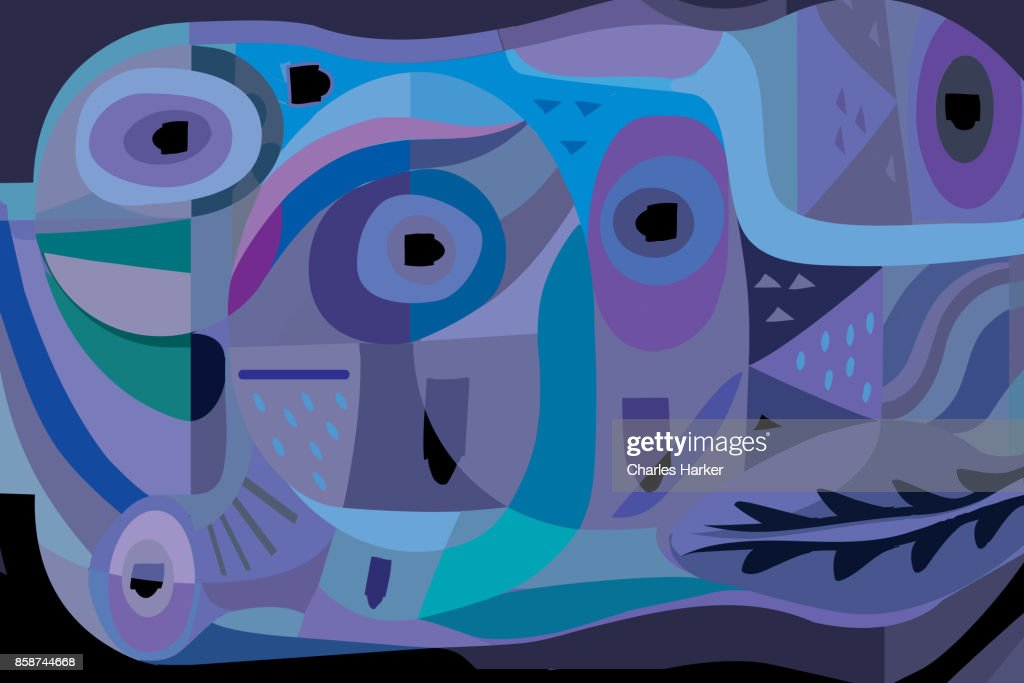 Vivid blue, turquoise and purple modern abstract illustration : Stock Photo