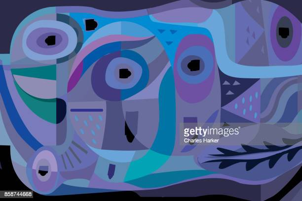 Vivid blue, turquoise and purple modern abstract illustration