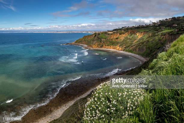 vivid bluff cove in spring - rancho palos verdes stock pictures, royalty-free photos & images