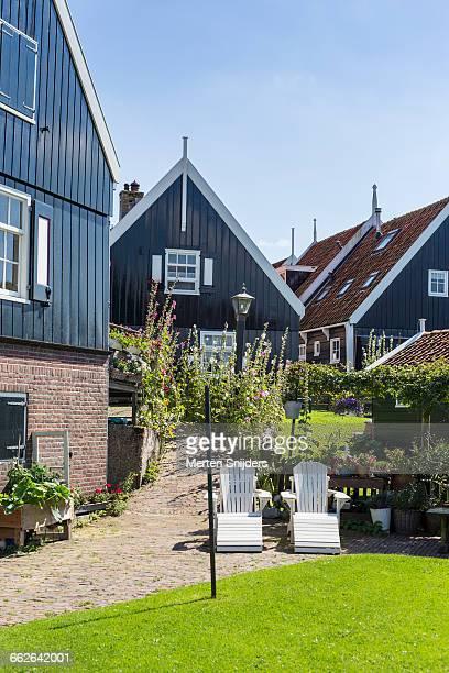 Vivid garden and Marken houses