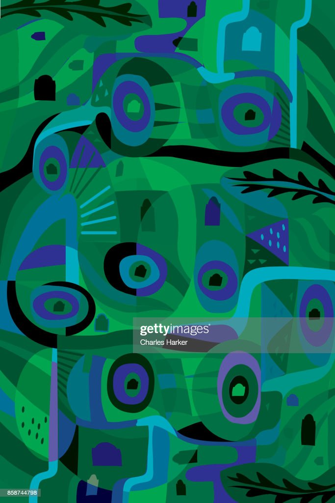 Vivid greeen and blue modern abstract illustration : Stock Photo