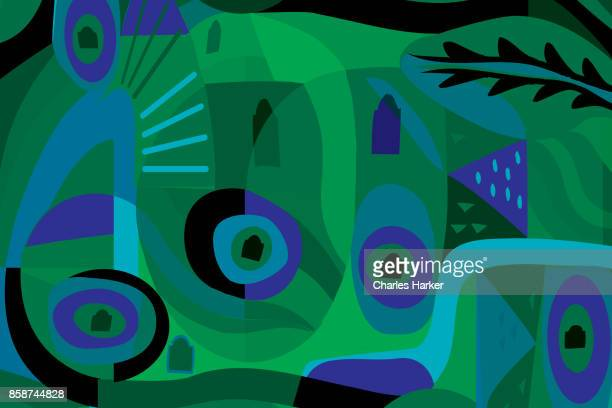 vivid greeen and blue modern abstract illustration - cartoon ストックフォトと画像