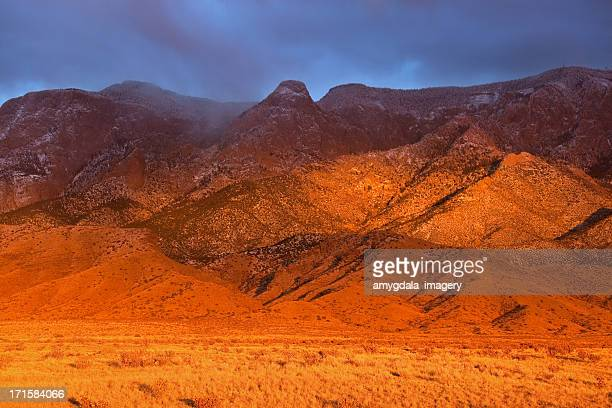 vivid landscape mountain sunset - sandia mountains stock photos and pictures