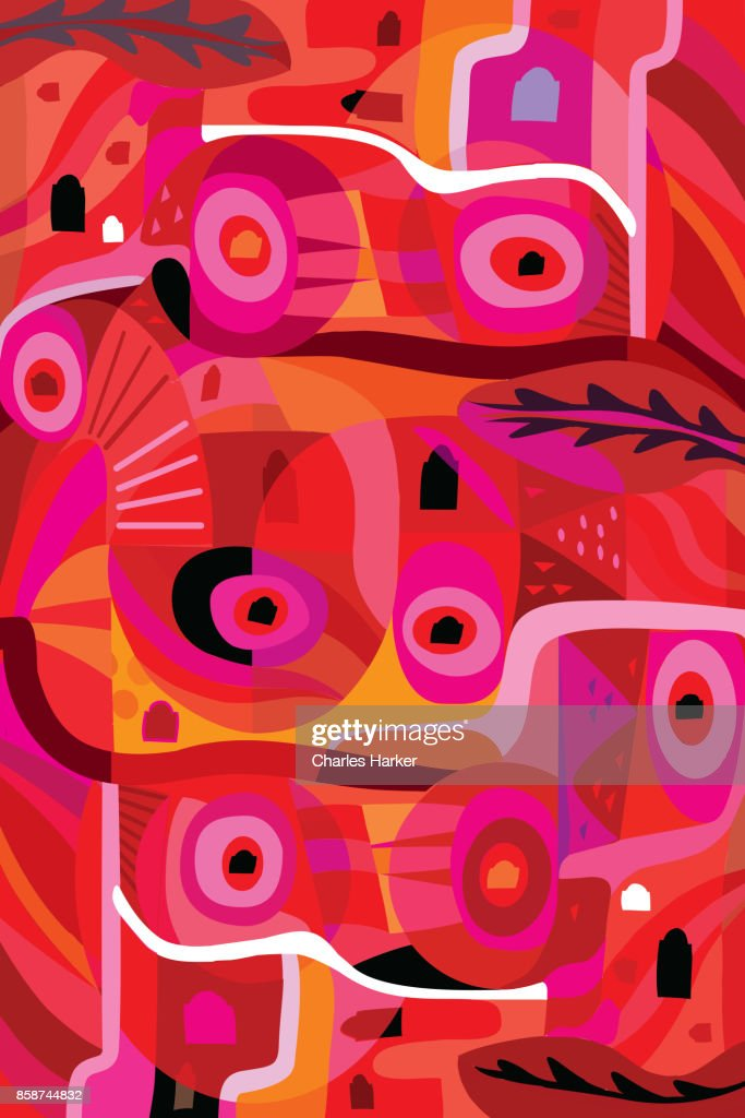 Vivid red, pink and orange modern abstract illustration : Stock Photo
