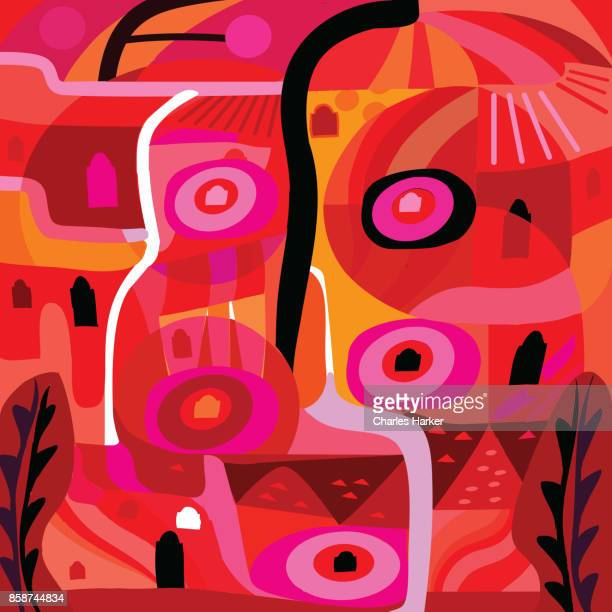 Vivid red, pink and orange modern abstract illustration