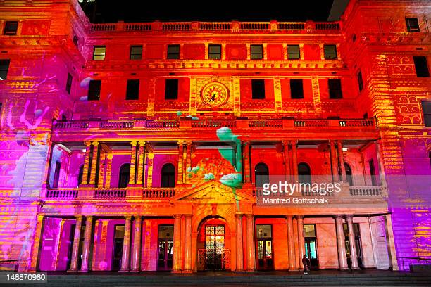 Vivid Sydney 2011 lightshow at the Sydney Customs House with the projection lightshow 'Unfamiliar Customs' on the sandstone architecture.