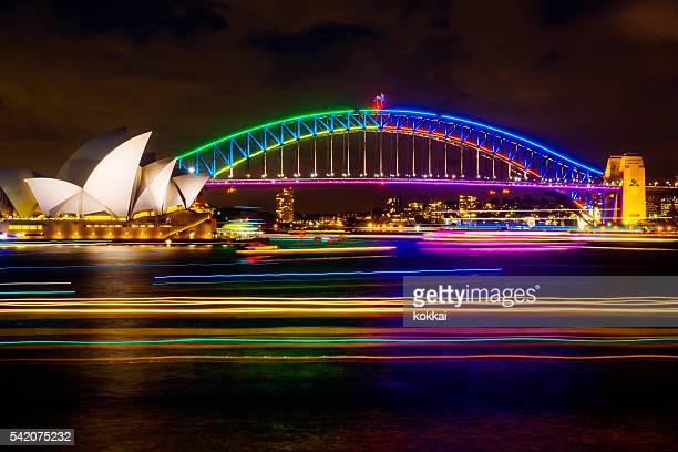 vivid sydney 2016 - sydney harbour bridge stock pictures, royalty-free photos & images
