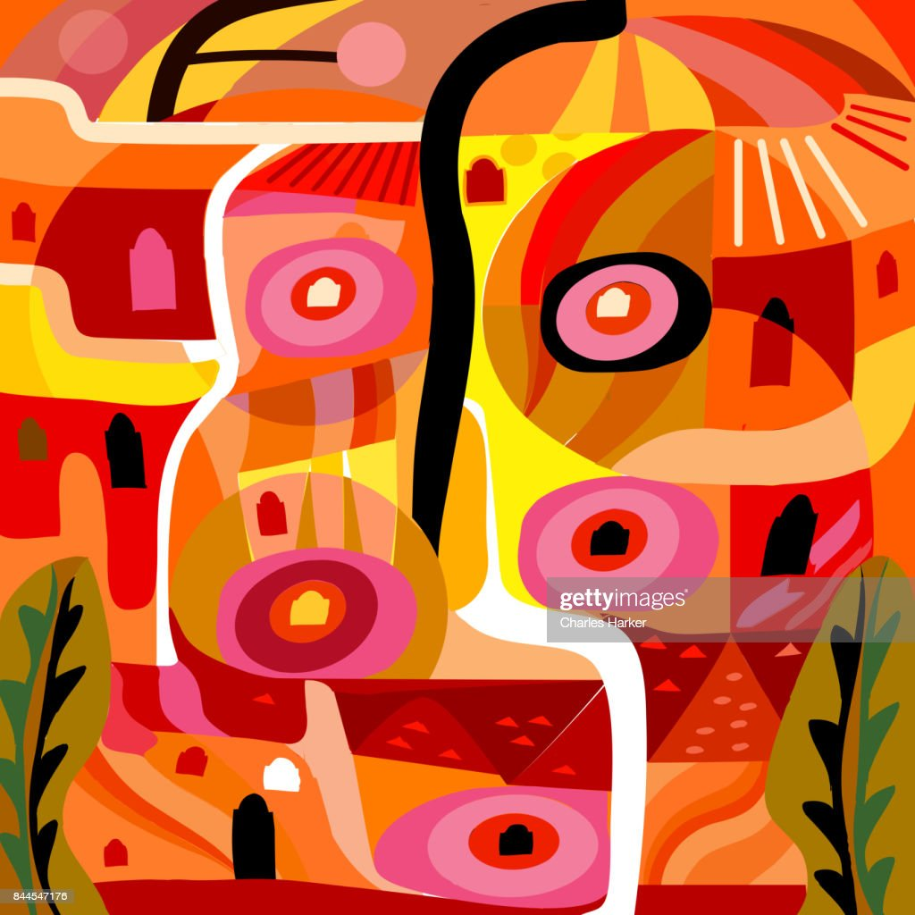 Vivid yellow and orange abstract cubist village pattern illustration : Stock Photo