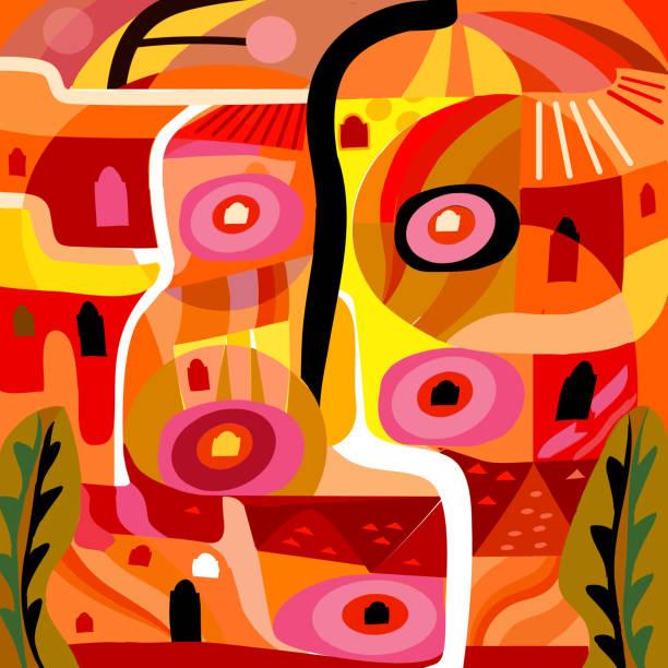 Vivid yellow and orange abstract cubist village pattern illustration