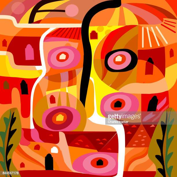 Vivid yellow and orange abstract cubist village pattern illustration