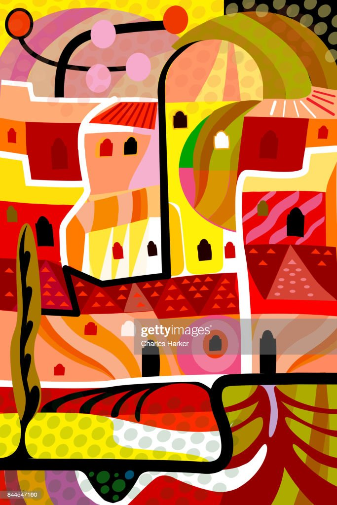 Vivid yellow and orange cubist village illustration in all over dynamic pattern : Stock Photo