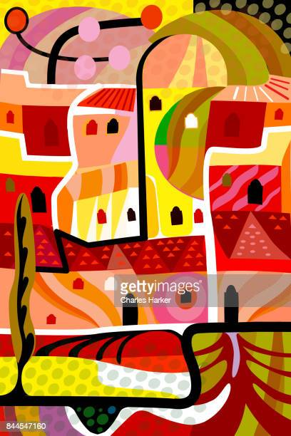 Vivid yellow and orange cubist village illustration in all over dynamic pattern