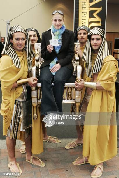 Vivien CoulsonThomas from Lewisham London the buyer of the one millionth ticket to the Tutankhamun and the Golden Age of the Pharaohs exhibition at...