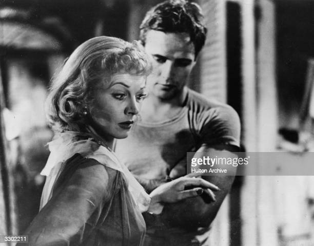 Vivien Leigh and Marlon Brando in a tense moment from 'A Streetcar Named Desire', adapted from the play by Tennessee Williams and directed by Elia...