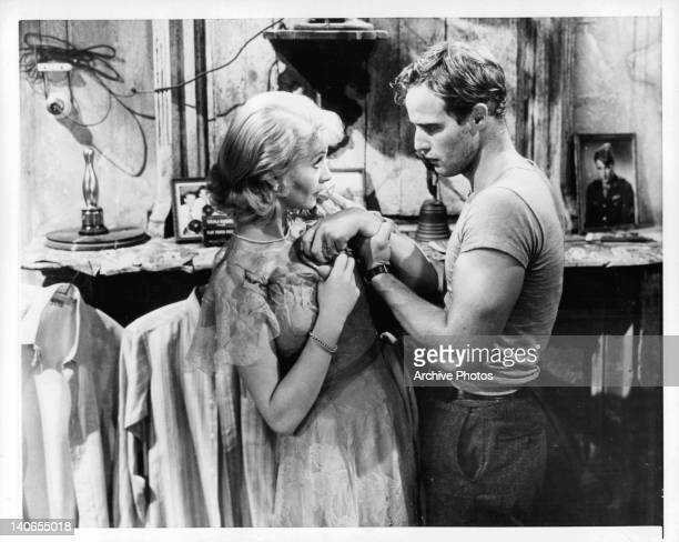 Vivien Leigh is grabbed by Marlon Brando in a scene from the film 'A Streetcar Named Desire', 1951.