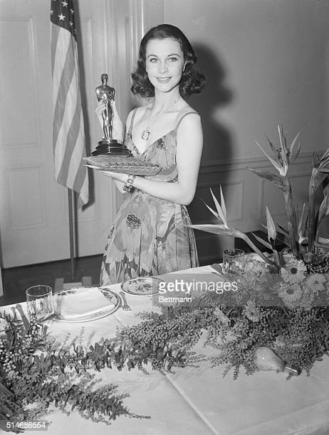 Vivien Leigh proudly holds her Best Actress Oscar on March 2 1940 She was recognized for her portrayal of Scarlett O'Hara in Gone With the Wind