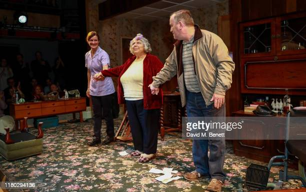 Vivien Parry Miriam Margolyes and Mark Hadfield at the curtain call during the press night performance of Sydney The Old Girl at The Park Theatre on...