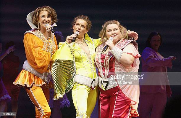 Vivien Parry performs with Kim Ismay and Lara Muchahy during fifth anniversary performance of Mamma Mia musical based on ABBA's hits at the Prince of...