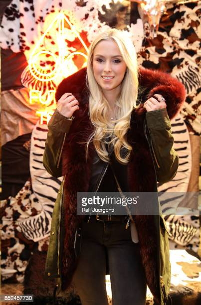 Vivien Wulf poses during the store event 'Moose Knuckles at Breuninger The Future Tribe Party' on September 23 2017 in Duesseldorf Germany