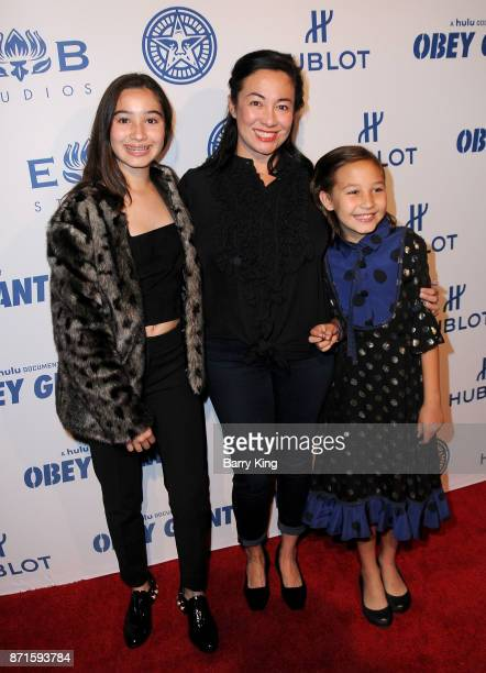 Vivienne Fairey Amanda Fairey and Madeline Fairey attend photo opp for Hulu's 'Obey Giant' at The Theatre at Ace Hotel on November 7 2017 in Los...